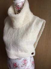 """Hand Knitted Cowl Vest: Cream Aran, size 34"""", by KnittedNature"""