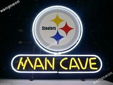 New PITTSBURGH STEELERS MAN CAVE Beer Bar Real Glass Neon Light Sign FREE SHIP