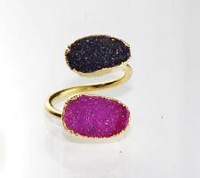 Best Offer Stunning Pink & Black Sugar Druzy Gold Plated Adjustable Ring Dh-8015