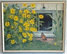 Frank Bly Original Artist Oil Painting Bird Under Facuet Taking Shower Adorable