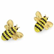 Kate Spade Black/Yellow Picnic Perfect Pave Bee Studs Earrings