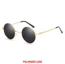8afcaecd0388 Retro 90s Style John Lennon inspired polarised Sunglasses Gold frame Black  lens