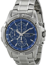 Seiko Mens Solar Chronograph Alarm Watch SSC141P1 Warranty, Box