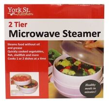 2 Tier Microwave Steamer Double Layer Cooking Meals Kitchen Appliance Vegetable