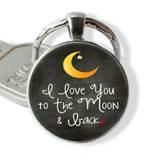 New ListingI Love You To The Moon Back Photo Tibet Silver Cabochon Glass Pendant Keychain