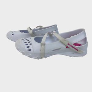 SKECHERS Ladies Womens Shoes Size UK 5 EU 38 White Rubber Maryjane Flats