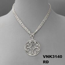 Toggle Closure Convertible Necklace Vnk3140Rd Silver Finish Filigree Cut Pendant