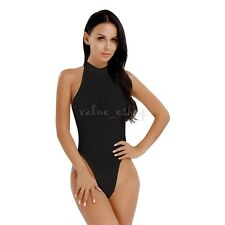 Womens Sleeveless Turtle Neck Bodysuit Leotard Top Thong Jumpsuit See through