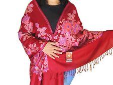 """Burgundy Kashmir Embroidery Wool Dress Wrap Warm Evening Shawl Trendy Scarf 80"""""""