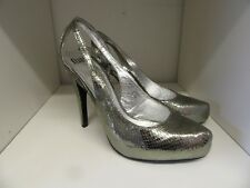 FAITH SILVER LEATHER SNAKESKIN STRAPPY SHOES SIZE 7 BRAND NEW