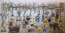 Ceramica Vietri Pannello Decorato A Mano 40x80 Paesaggio Vendemmia Naif Vietrese