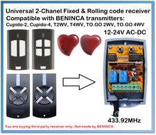 BENINCA Compatible Universal 2-Channel receiver 12-24V AC/DC 433.92MHz.