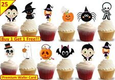 50 Halloween Cup Cake Toppers Edible Stand Up Wafer Decorations Kids Party CUTE
