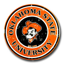 "OKLAHOMA STATE COWBOYS 12"" ROUND METAL SIGN OSU UNIVERSITY MAN CAVE GAME ROOM"