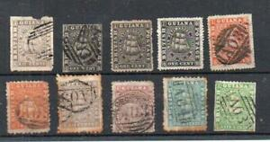 """Commonwealth Card of  Very Early """"British Guiana""""Stamps Used Needs Checking C2"""
