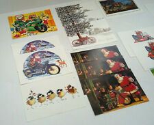 Christmas motorcycle 17 front only card lot salesman sample mixed media collage