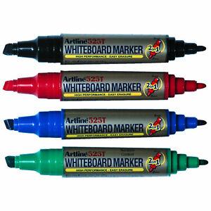 Artline 525T Whiteboard Marker 2 in 1 Chisel and Bullet Point, 4-Color Set