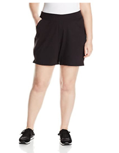 Just My Size Women's Plus Cotton Jersey Pull-On Shorts, Black, 1X