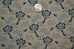 """Cotton quilting fabric 44"""" x 3 yards, blue flowers on tan"""