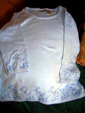 BILL BLASS WOMENS EMROIDERY TRIMMED BLUE LONG SLEEVE SHIRT!  NEW!  SIZE XL