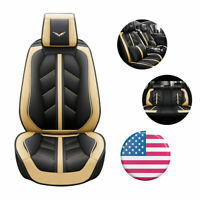 Universal Beige Car Seat Covers Full Set PU Leather Breathable Protector Cushion