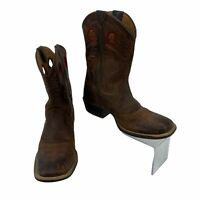 Ariat Leather Boots Youth Kid Size 2 Roughstock Square Toe Cowboy Western Riding