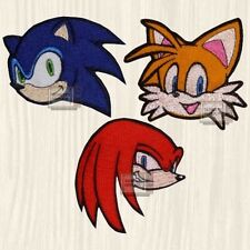 Sonic Patches Set the Hedgehog Knuckles Tails Head Sega Genesis Embroidered