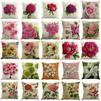 Flower Floral Cotton Cushion Cover Home Sofa Car Throw Pillow Case Protector