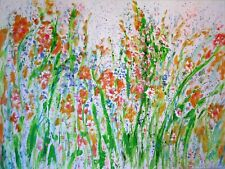 original abstract painting - Dancing Wild Poppies - 40 x 30 x 1.5
