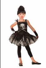 New Girls Skull Ballerina Costume Silver & Black Tutu Dress Child Medium 8-10