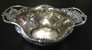 Vintage Antique Pair-point Art Nouveau Silver Bowl
