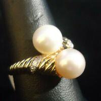 (RI5) 14K Yellow Gold Pearl Ring w/ 4 Diamonds .02CTW - 5.5g - Size 9.5