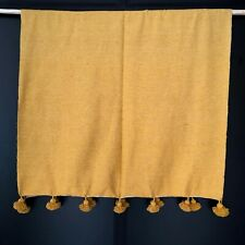 Moroccan Mustard Yellow Pom Pom Throw Blanket with Tassels,coverbed,baby blanket