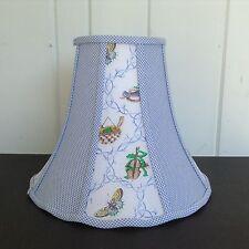Kids Blue White Gingham Lamp Shade Green Frogs Butterflies Birds 10t x 13w