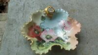 Rosenthal Monbijou Antique Gold Trimmed Ruffled Candy Nut Dish Hand Painted MINT