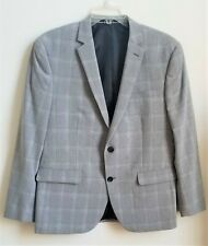 "BAR III Men""s Check Gray Slim Fit Suit Jacket Blazer Sport Coat 42S"