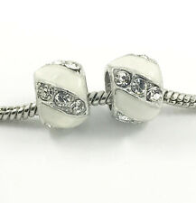 2pcs Silver European Charm Crystal Spacer Beads Fit Necklace Bracelet NEW