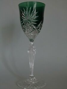 VINTAGE ROEMER WINE GLASS CRYSTAL VAL ST LAMBERT MOSELLE GREEN