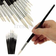 12pcs Artist Paint White Hair Brushes Set Watercolour Painting Acrylic Oil Black