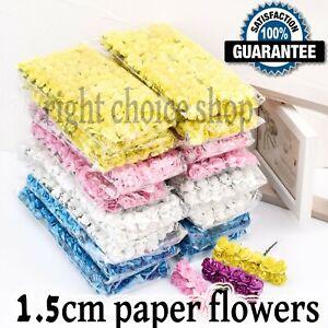 144Pcs Mini Artificial Flowers 1.5 CM Small Paper Rose Wedding Party Bouquet UK