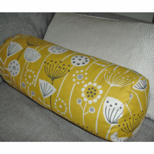 "Round 16""x6"" Bolster Scandi Seedheads Cylinder Cushion Cover Yellow Ochre Grey"