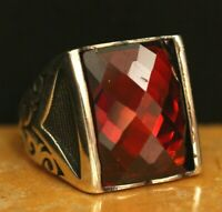 925 Sterling Silver Handmade Authentic Turkish Ruby Men's  Ring Size 7-12
