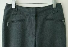 M&S Cashmere Wool Marks Spencer Womens  Grey Twill Straight Leg Trousers size 12