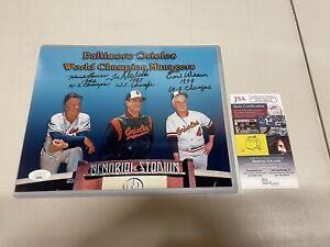 Earl Weaver, Joe Altobelli, & Hank Bauer Orioles Signed 8x10 Photo W/ Insc JSA