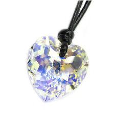 Swarovski Element Crystal AB Heart Pendant 18mm Black Leather Choker Necklace