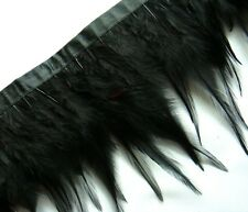 F202 PER FEET-Black Rooster Hackle Hen feather fringe Trim Fascinator Material