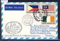 58249) LH FF Berlin - Prag 29.3.92, Karte ab UNO New York flag