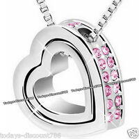 TWIN HEART PINK CRYSTAL NECKLACE ROMANTIC LOVE GIRL WIFE WOMEN XMAS GIFT FOR HER