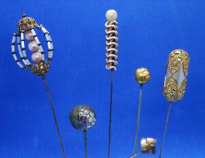 VINTAGE HATPINS / STICKPINS: unusual set of SIX DIFFERENT pins: c.1920 - 1950s