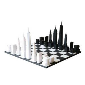 SKYLINE CHESS - Exklusives Design Schachspiel - NEW YORK Edition Starter-Kit